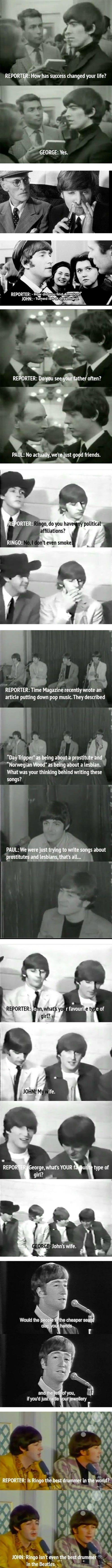 "The Beatles, original Trolls. . REPORTER: we ""? REPORTER: bayou often? PAUL: No actual Music Beatles troll quotes"
