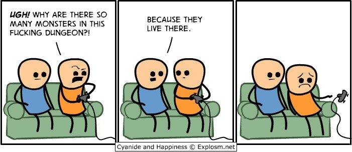 Undertale in a nutshell. Source: Cyanide and Happiness. Undertale in a nutshell
